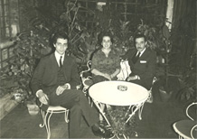 Ruggero, Diana and Alessandro Romanelli in the garden of Flora Hotel. 1964.